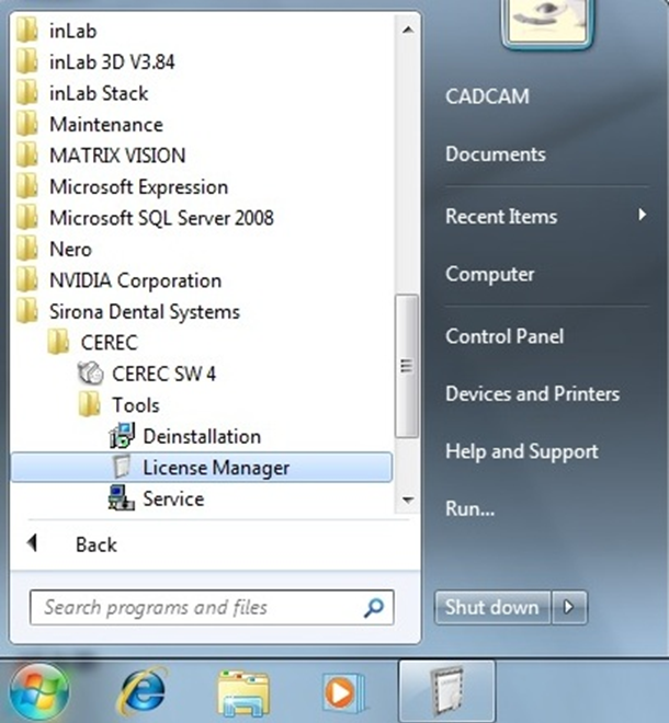 CEREC - Steps to Open 4 0 License Manager