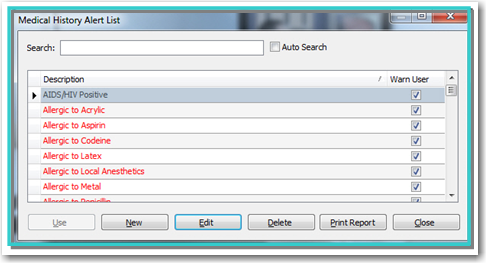 eaglesoft customizable medical history in version 17