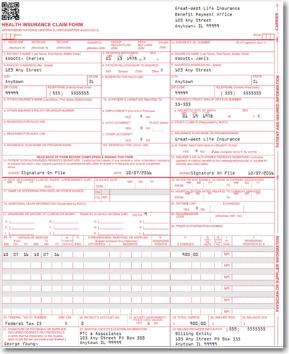 photograph relating to 1500 Claim Form Printable identify Blank CMS-1500 Sort