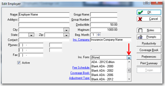 Change Default Insurance Form