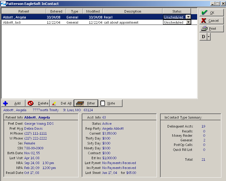 Eaglesoft - How to Use InContact