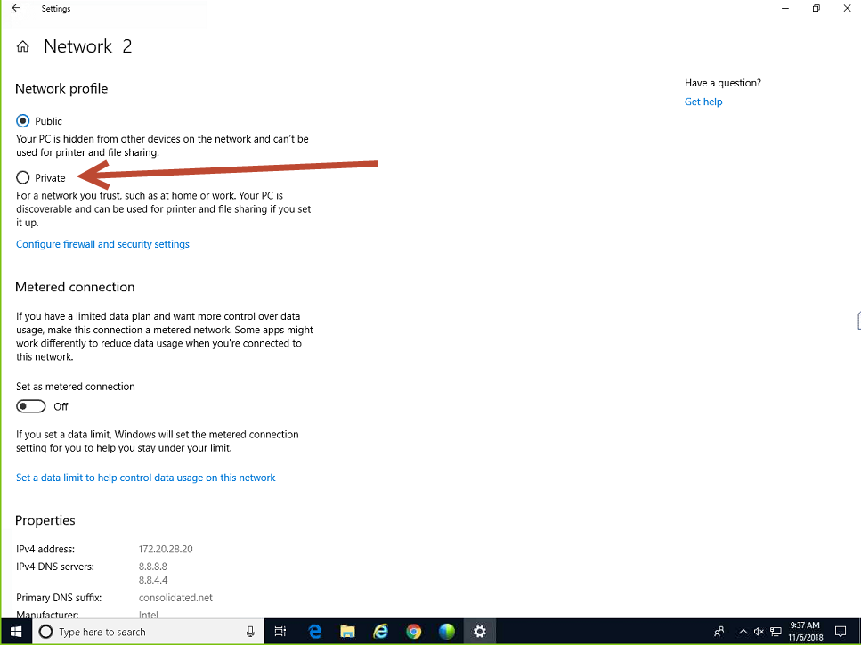 how to change network from public to work windows 8